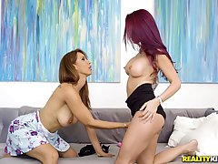 Sexy ladies are touching each other and getting ready to do ...