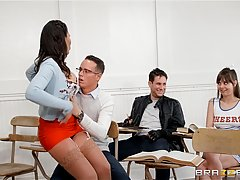Horny dark haired teacher Makayla Cox is getting her pussy f...