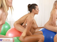 Naked babes are doing their fitness routine and slowly turni...