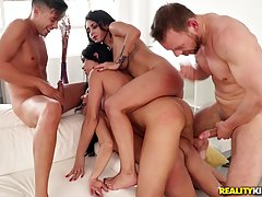 Smoking hot girls are having group sex with some handsome gu...
