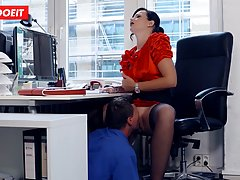 Busty German secretary sucking hard cock at the office...