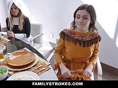 Kinky girls are sucking dicks after a Thanksgiving lunch, be...