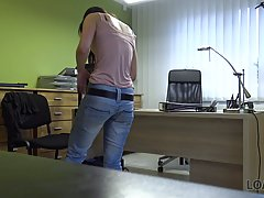 Kinky brunette chick got hammered at work thinking that no o...