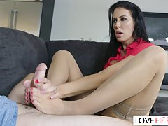 Horny dude is banging his step- mom in the living room and m...