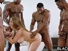 Lena Paul is about to have an interracial gangbang with a gr...
