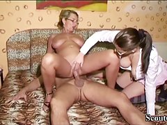 Two busty mature ladies are jumping over a lucky white cock ...