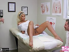 Busty blonde slut, Bridgette B is getting a horny doctor's h...