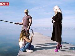 Рыбак на пляже трахает блондинку с большими сиськами и журна...