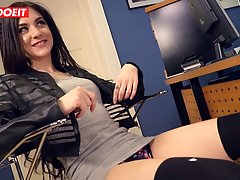 German brunette is getting filled up by a big, hard dick and...