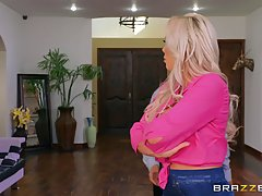 Kinky blonde step mom is sucking her lucky step son, Jordi's...