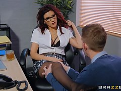 Busty brunette with glasses, Amina Danger doesn't m...