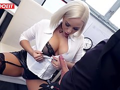 Horny blonde secretary likes a quick fuck at work, because i...