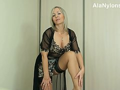 Astonishing mature blonde is wearing her best erotic lingeri...