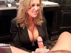 Busty blonde woman, Brandi Love is kneeling in her office an...