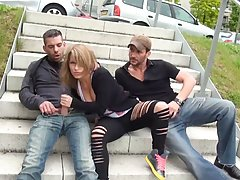 Aroused blonde chick with tiny tits, Liona had sex with two guys, in a local park
