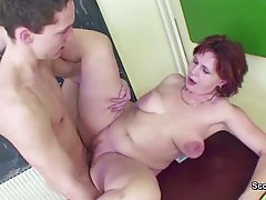 Mature, red haired teacher had wild sex with her barely lega...