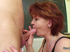 German mature would never say no to a good fuck with a younger guy, in the classroom