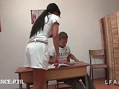Slutty brunette teacher is about to have a threesome in the ...