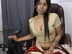 Indian brunette took off her clothes and started fingering h...