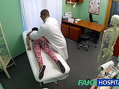 Dirty minded teen didn't mind when her doctor started fucking her tight pussy, in his office