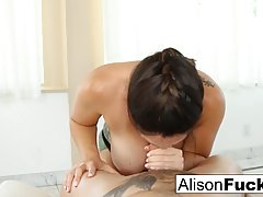 Ravishing brunette, Alison Tyler gave a blowjob and a titjob...