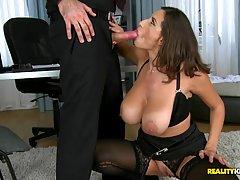 Secretaries Garter - Sexy secretary in black, erotic stockings and garter belt is ...