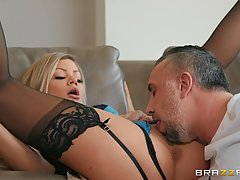 Riley Steele is getting fucked balls deep during a casual se...