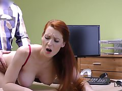 Big titted, red haired office lady likes to feel a rock hard...