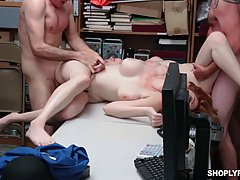 Two naked babes are getting fucked in the back room, instead...