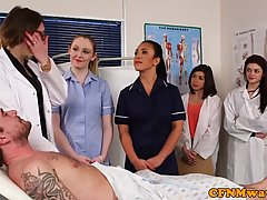 Naughty nurses are having fun with dicks of their patients and even giving them deep blowjobs