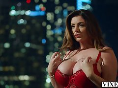 Curvaceous brunette in sexy, red lingerie, Sophie Dee got do...
