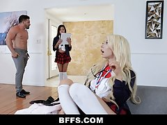 Nasty schoolgirls are about to get fucked from the back, ins...