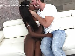 Black babe with green eyes is about to have deep anal sex wi...