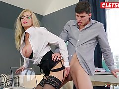 Super sexy blonde is showing to one of her students some hot...
