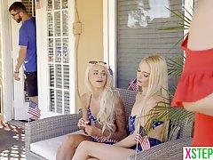 Две молоденькие блондинки трахнулись со своим сводным братом...