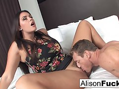 Alison took off her floral dress and spread her legs wide op...