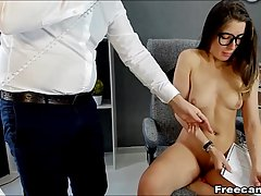 Hot office lady and her co- worker are often masturbating while at work, for each other