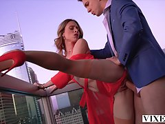 Racy blonde lady in red, Anya Olsen spreads up and lets her ...