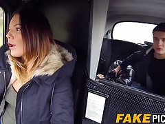 English babe is having steamy sex in the taxi, with a guy sh...
