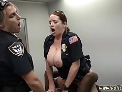 A strong black guy is fucking two uniformed ladies, on the t...