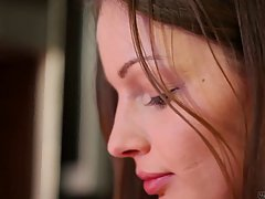 Pretty teen is gently fingering her perfectly moistened puss...