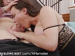 Dana DeArmond is demonstrating her cock sucking routine to her step- son, just for fun
