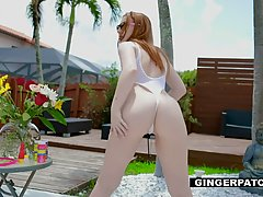 Red haired babe, Amber is waiting for her married neighbor t...