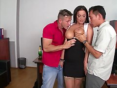 Racy brunette, Sheila was happy with her new employees and d...