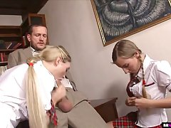 Insatiable schoolgirls were sent to the principal's...