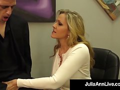 Julia Ann is a smashing blonde woman, who likes to rub dicks and make them explode