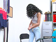 Charming teen brunette with curly hair, Mall Magnum was caug...
