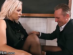 Busty blonde asked a married guy to cheat on his wife and fu...