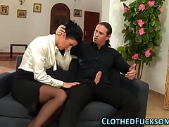 Amazing brunette is often cheating on her husband and giving amazing blowjobs to various guys
