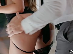 Lena Paul is eagerly sucking her married lover's di...